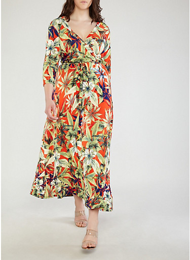Plus Size Faux Wrap Tropical Print Dress,RED,large