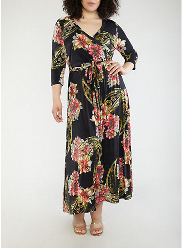 Plus Size Black Printed Faux Wrap Maxi Dress with Sleeves,BLACK,large