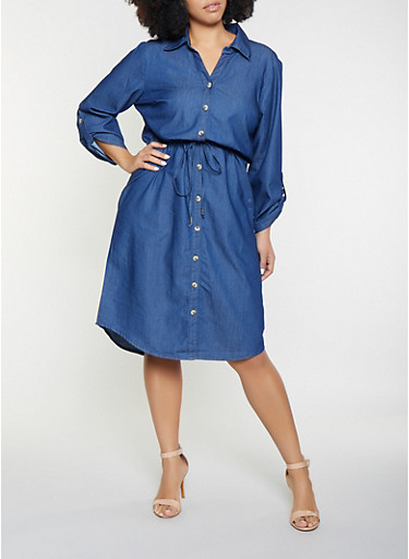 Plus Size Chambray Shirt Dress,DARK WASH,large