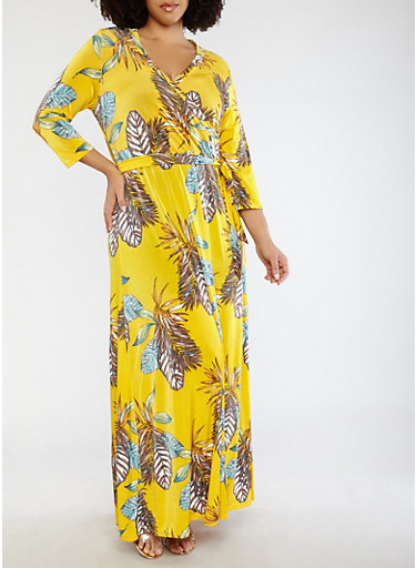 Plus Size Yellow Printed Faux Wrap Maxi Dress with Sleeves | Tuggl