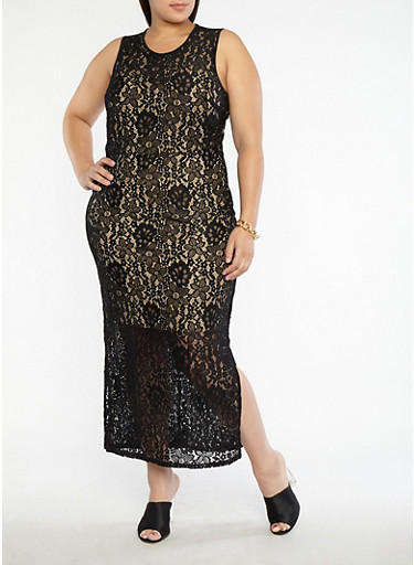 Plus Size Metallic Print Mesh Back Bodycon Dress,BLACK/NUDE,large