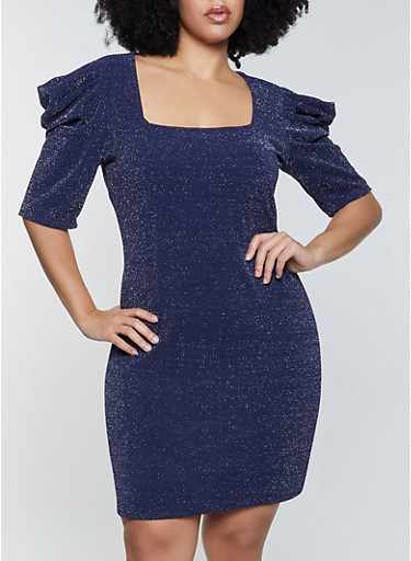 Plus Size Puff Sleeve Glitter Knit Dress,NAVY,large