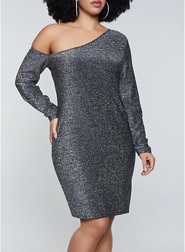 Plus Size One Shoulder Lurex Dress,SILVER,large