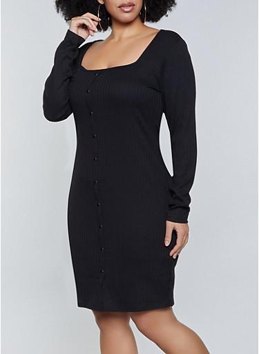Plus Size Rib Knit Square Neck Dress,BLACK,large