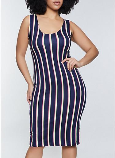 Plus Size Neon Stripe Bodycon Dress,NEON LIME,large