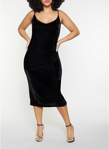 Plus Size Velvet Midi Dress,BLACK,large