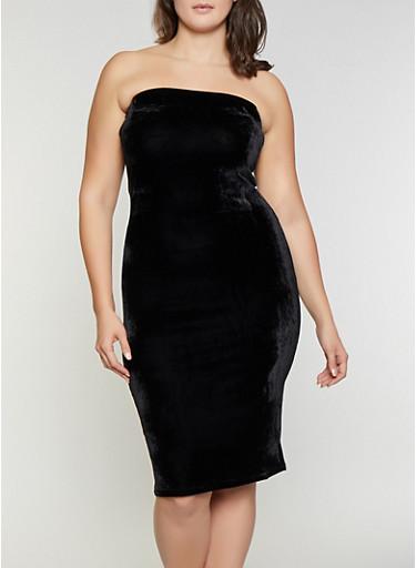 Plus Size Velvet Tube Dress,BLACK,large