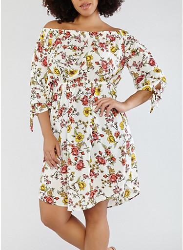 Plus Size Floral Off the Shoulder Dress,IVORY,large