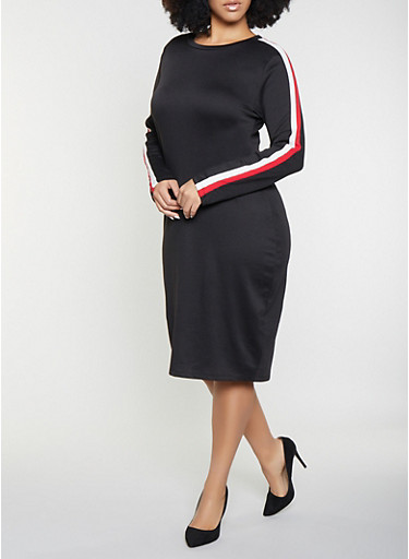 Plus Size Striped Sleeve Sweatshirt Dress,BLACK,large