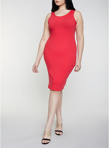 Plus Size Solid Tank Dress | 1390058752790,RED,large