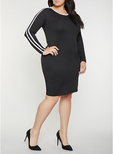 Plus Size Varsity Stripe T Shirt Dress,BLACK/WHITE,large