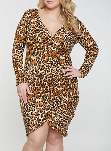Plus Size Leopard Faux Wrap Dress,BROWN,large