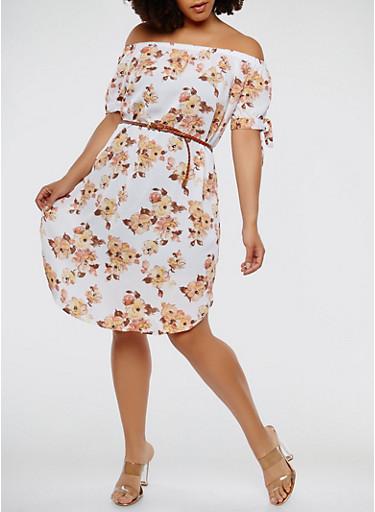 Plus Size Printed Off the Shoulder Dress,BONE,large