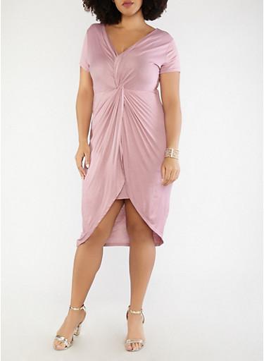 Plus Size Knot Front Short Sleeve Bodycon Dress,MAUVE,large