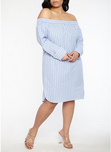 Plus Size Striped Off the Shoulder Dress | Tuggl