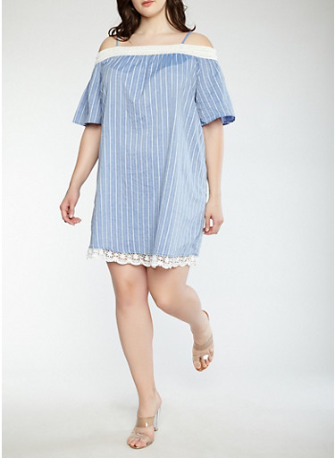 Plus Size Striped Off the Shoulder Dress,CHAMBRAY,large