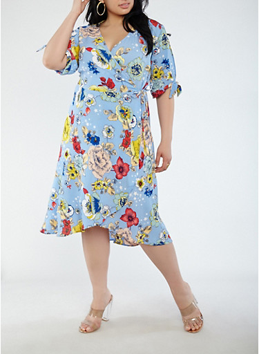 Plus Size Floral Slit Tie Sleeve Wrap Dress,BLUE,large