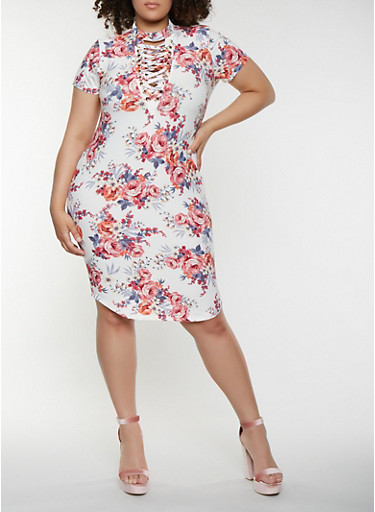 Plus Size Lace Up Floral Bodycon Dress,IVORY,large