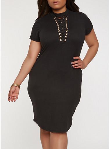 Plus Size Lace Up T Shirt Dress | Tuggl