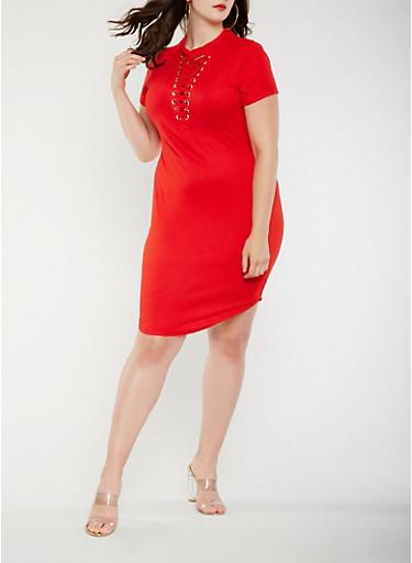 Plus Size Lace Up T Shirt Dress,RED,large