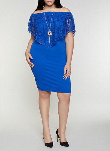 Plus Size Lace Overlay Dress with Necklace,RYL BLUE,large