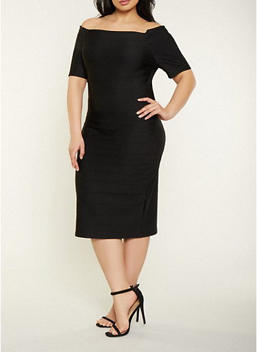 Plus Size Off the Shoulder Bandage Dress,BLACK,large