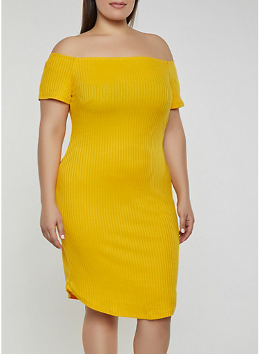 Plus Size Off the Shoulder Rib Knit Dress,MUSTARD,large