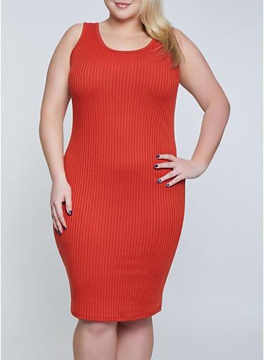 Plus Size Ribbed Knit Tank Dress | 1390058754624,RUST,large