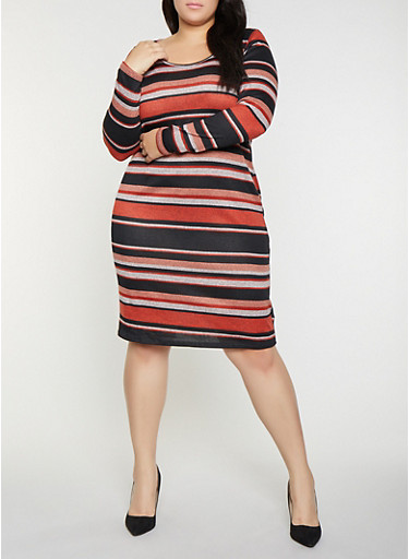 Plus Size Striped Sweater Dress,RED,large