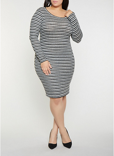 Plus Size Striped Rib Knit Sweater Dress,BLACK,large