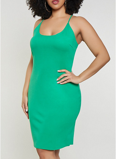 Plus Size Ponte Midi Tank Dress,KELLY GREEN,large