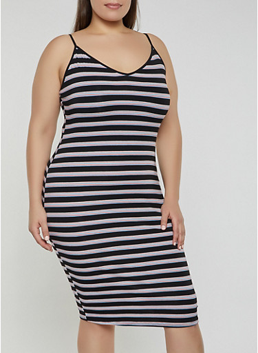 Plus Size Striped V Neck Cami Dress,BLACK,large