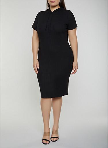 Plus Size Hooded Rib Knit Dress,BLACK,large
