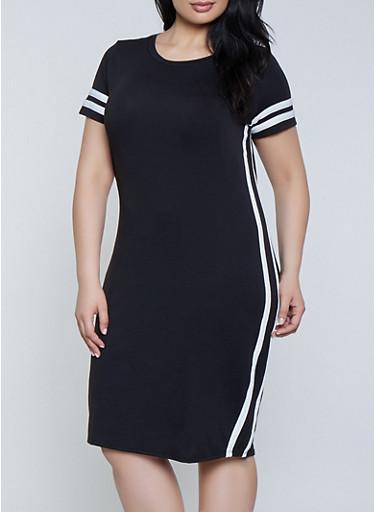 Plus Size Varsity Stripe T Shirt Dress | 1390058754637,BLACK/WHITE,large