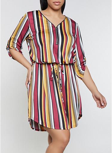 Plus Size Striped Midi Zip Neck Dress,BLACK,large