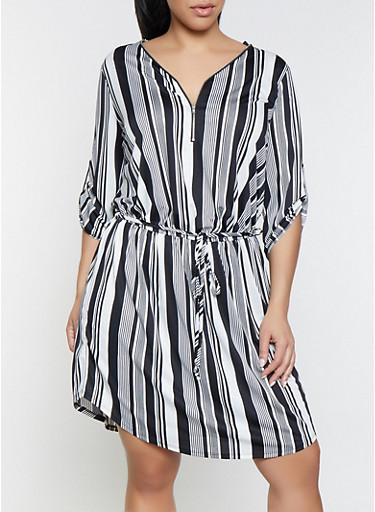 Plus Size Black Striped Zip Neck Dress,BLACK/WHITE,large