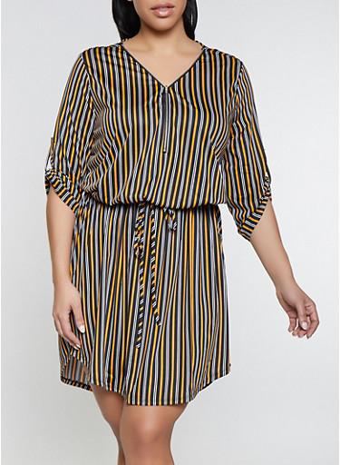 Plus Size Drawstring Waist Striped Zip Neck Dress,MUSTARD,large
