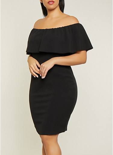 Plus Size Textured Off the Shoulder Dress,BLACK,large
