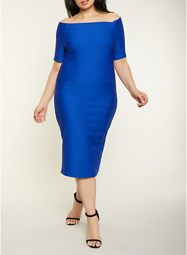Plus Size Bandage Off the Shoulder Dress,COBALT,large