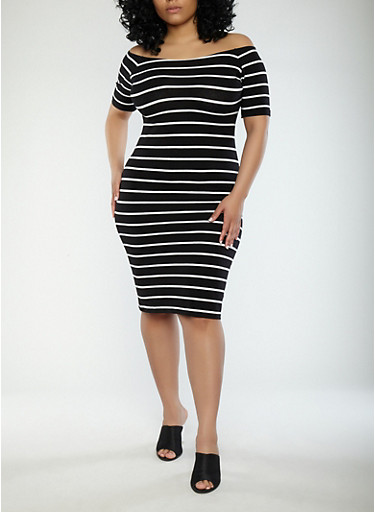Plus Size Striped Off the Shoulder Dress,BLACK/WHITE,large