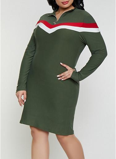 Plus Size Chevron Bodycon Dress,OLIVE,large