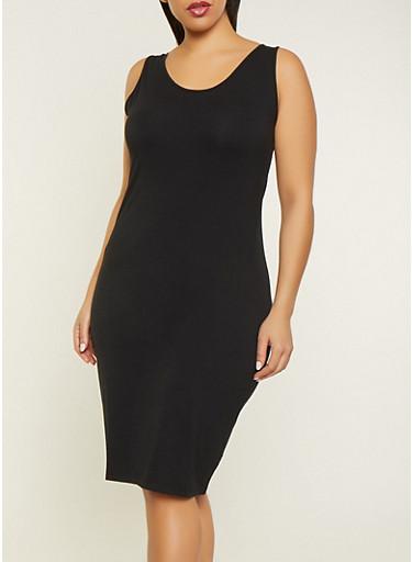 Plus Size Basic Tank Dress,BLACK,large