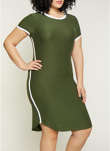 Plus Size Contrast Trim T Shirt Dress | 1390061639737,OLIVE,large