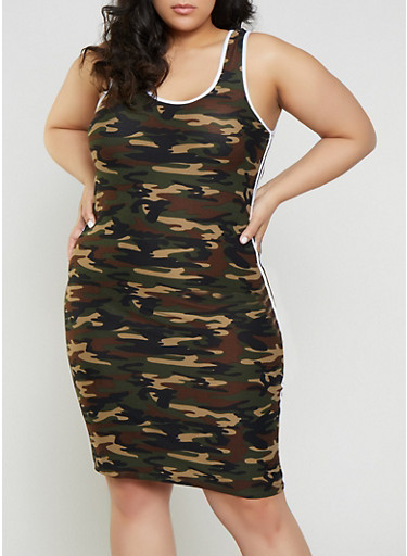 Plus Size Camo Varsity Stripe Tank Dress,OLIVE,large
