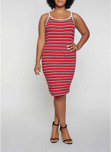 Plus Size Striped Contrast Trim Cami Dress | 1390061639743,RED,large