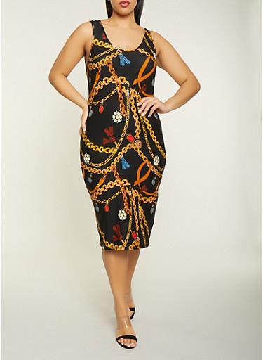 Plus Size Chain Print Tank Dress,BLACK,large