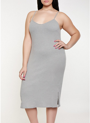 Plus Size Ribbed Knit Tank Dress,HEATHER,large