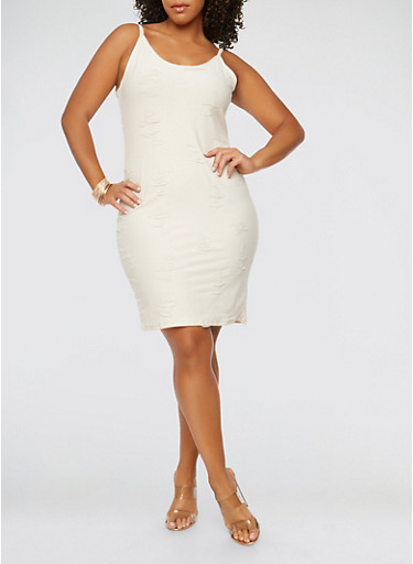 Plus Size Distressed Tank Dress,IVORY,large