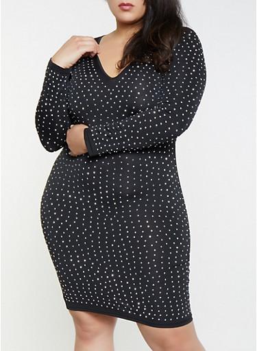 Plus Size Studded Bodycon Dress,BLACK,large