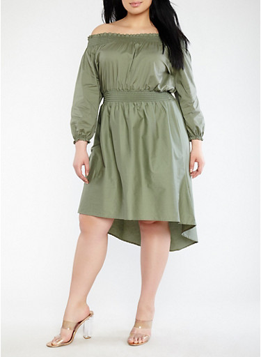 Plus Size Smocked Off the Shoulder Dress | Tuggl